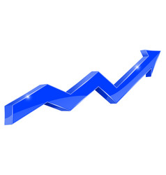 Blue arrow financial 3d rising graph vector