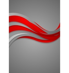 Bright red grey wavy abstract corporate background vector