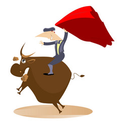 Bullfighter and the bull isolated vector