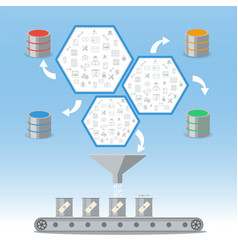 business intelligence processing and database vector image