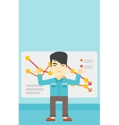 Businessman with decreasing chart vector