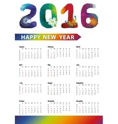 Calendar 2016polygon numbersrainbow colors vector