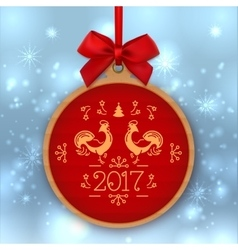 Christmas ball happy new year 2017 greeting card vector