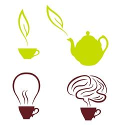 coffee and tea set vector image