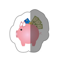 colorful silhouette sticker of piggy bank with vector image vector image