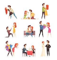 couple in love decorative elements set vector image