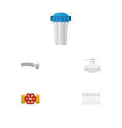 flat icon sanitary set of water filter radiator vector image vector image