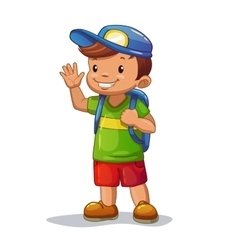 Funny cartoon little boy with school bag vector
