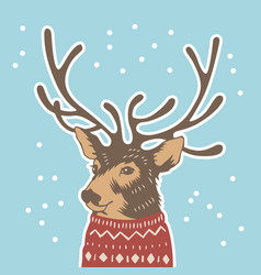 hand drawn holiday card in sweater vector image vector image
