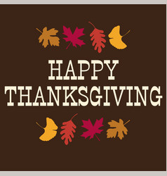 happy thanksgiving typography graphic with leaves vector image vector image