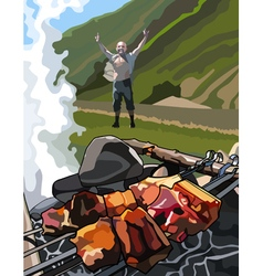 joyful man on a picnic with shashlik in the grill vector image vector image