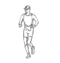 marathon running doodle art vector image vector image