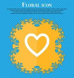 Medical heart love floral flat design on a blue vector