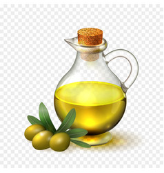 Olive oil in a glass bottle with handle and corck vector