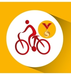 Olympic gold medal mountain bike vector