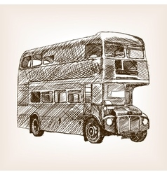 Retro bus hand drawn sketch vector