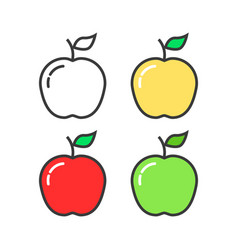 set of linear colored apples vector image vector image
