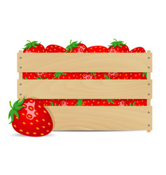 sweet strawberries in wooden box vector image vector image