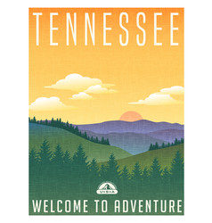 Tennessee mountains travel poster vector
