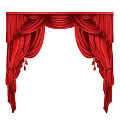 theater stage red curtains realistic vector image