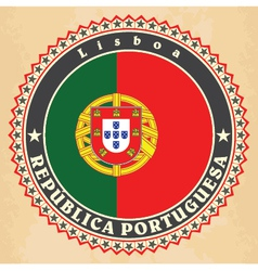 Vintage label cards of Portugal flag vector image