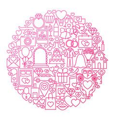 Wedding line icon circle design vector