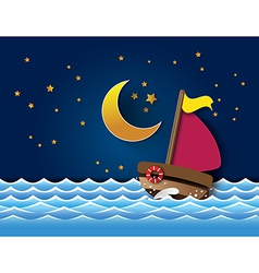 yacht on sea night vector image vector image