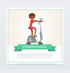 Young woman working out on exercise bike fitness vector