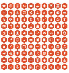 100 cooking icons hexagon orange vector