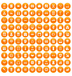 100 loans icons set orange vector