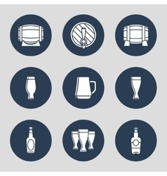 Beer icons set with glasses vector image