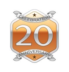 Twenty years anniversary celebration silver logo vector