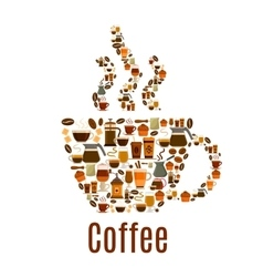 Coffee steamy cup symbol poster vector image