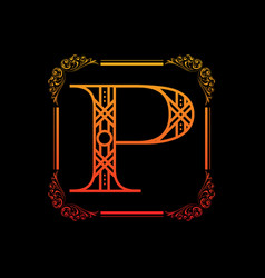 Letter p with ornament vector