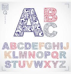 floral font hand-drawn capital alphabet letters vector image
