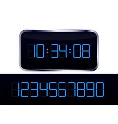 blue digital clock and number set vector image