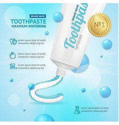 Whitening toothpaste promotion concept card vector