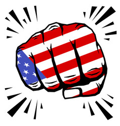 hand drawn fist - american flag fist on white vector image