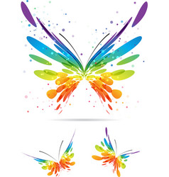 Set of multicolored butterflies vector