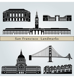 San Francisco landmarks and monuments vector image