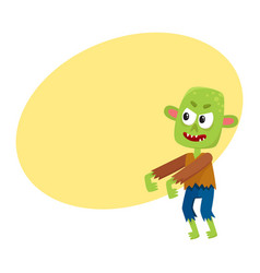 Scary little green zombie monster in rags vector