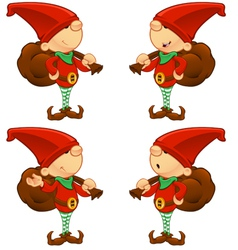 Red elf holding a sack vector