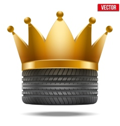 Realistic rubber tire with a golden crown vector