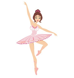Beautiful dancing ballerina isolated on white ba vector