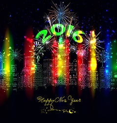 happy new year city colourful with firework vector image