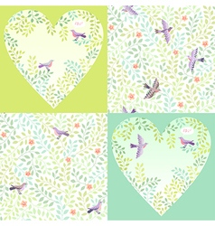 Pattern birds set vector
