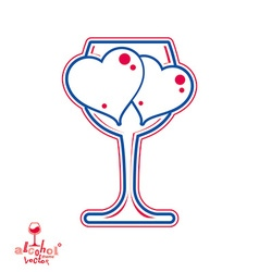 Wine glass with love hearts vector