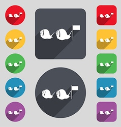 Fast snail icon sign a set of 12 colored buttons vector