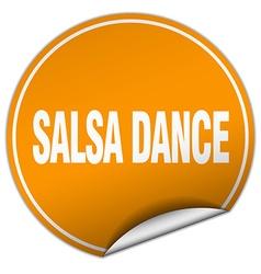 Salsa dance round orange sticker isolated on white vector