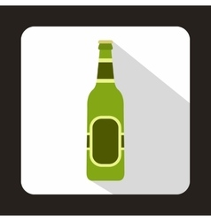Green bottle of beer icon flat style vector